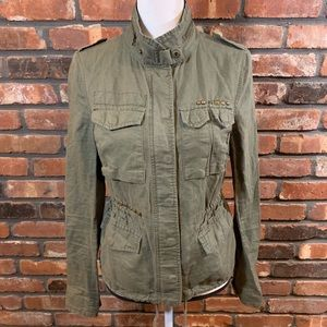Free People Linen Blend Olive Military Jacket